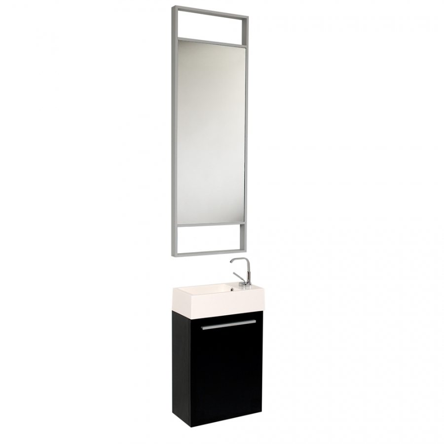 15 5 Inch Small Black Modern Wall Mount Bathroom Vanity Set On