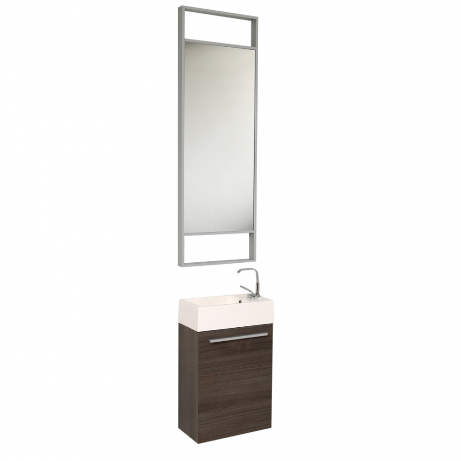 15 5 inch small gray oak modern bathroom vanity with tall for Bathroom cabinet 8 inches wide
