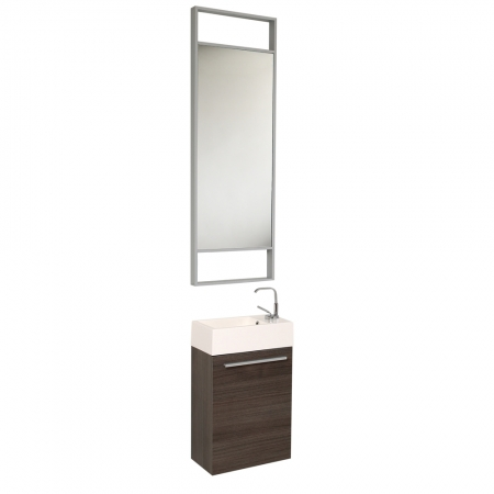 small gray oak modern bathroom vanity with tall mirror uvfvn8002go15