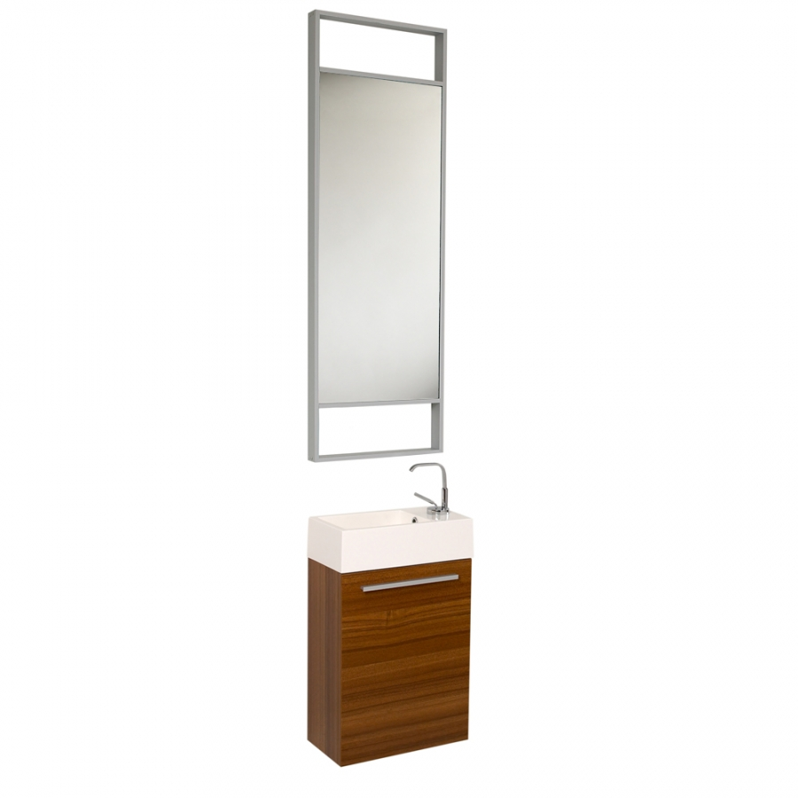 15 5 Inch Small Teak Modern Bathroom Vanity With Tall Mirror Uvfvn8002tk15