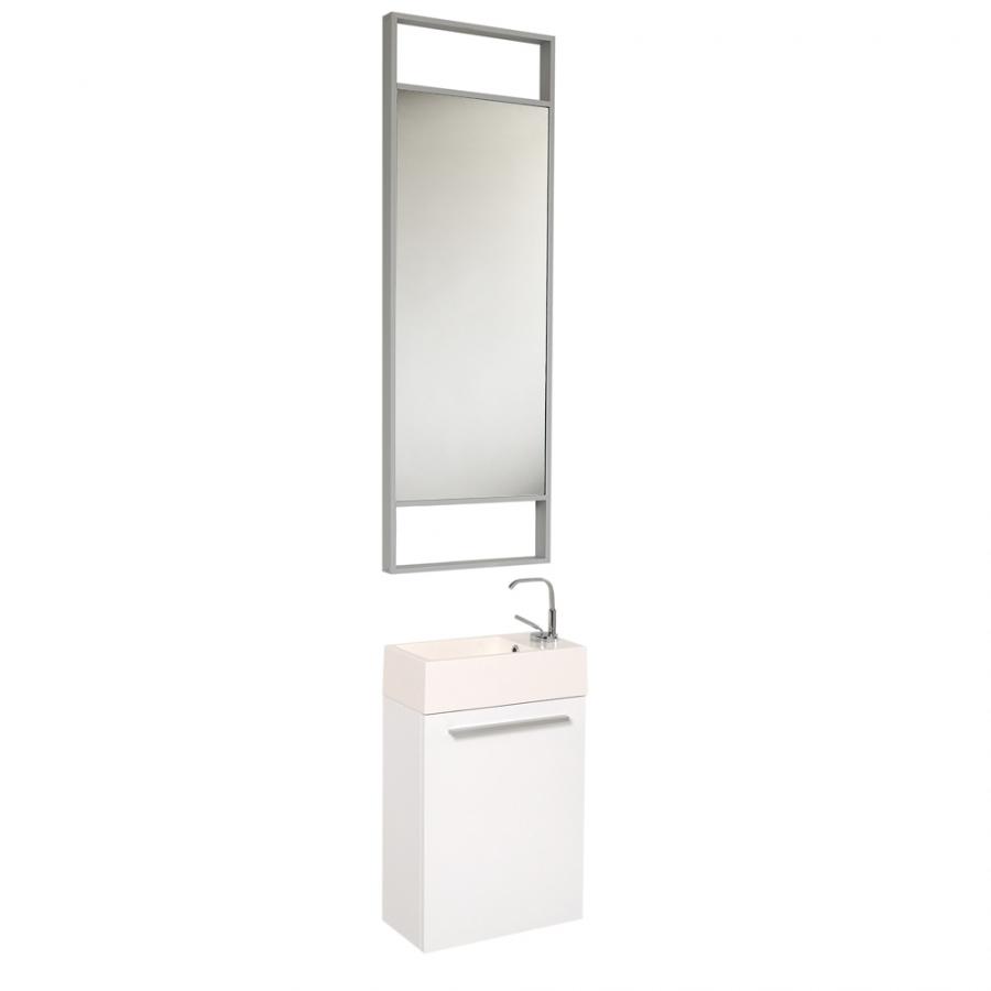15 5 Inch Small White Modern Wall Mount Bathroom Vanity Set On Sale