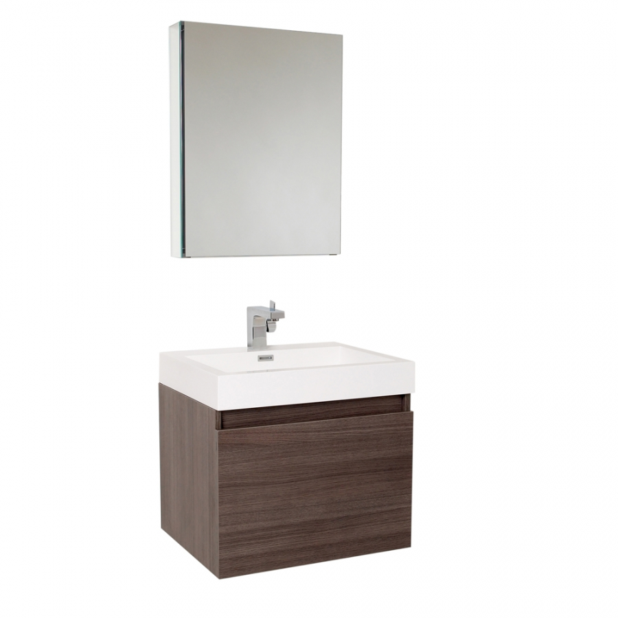23 5 Inch Gray Oak Modern Bathroom Vanity With Medicine