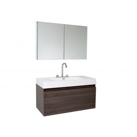 39 inch gray oak modern bathroom vanity with medicine cabinet