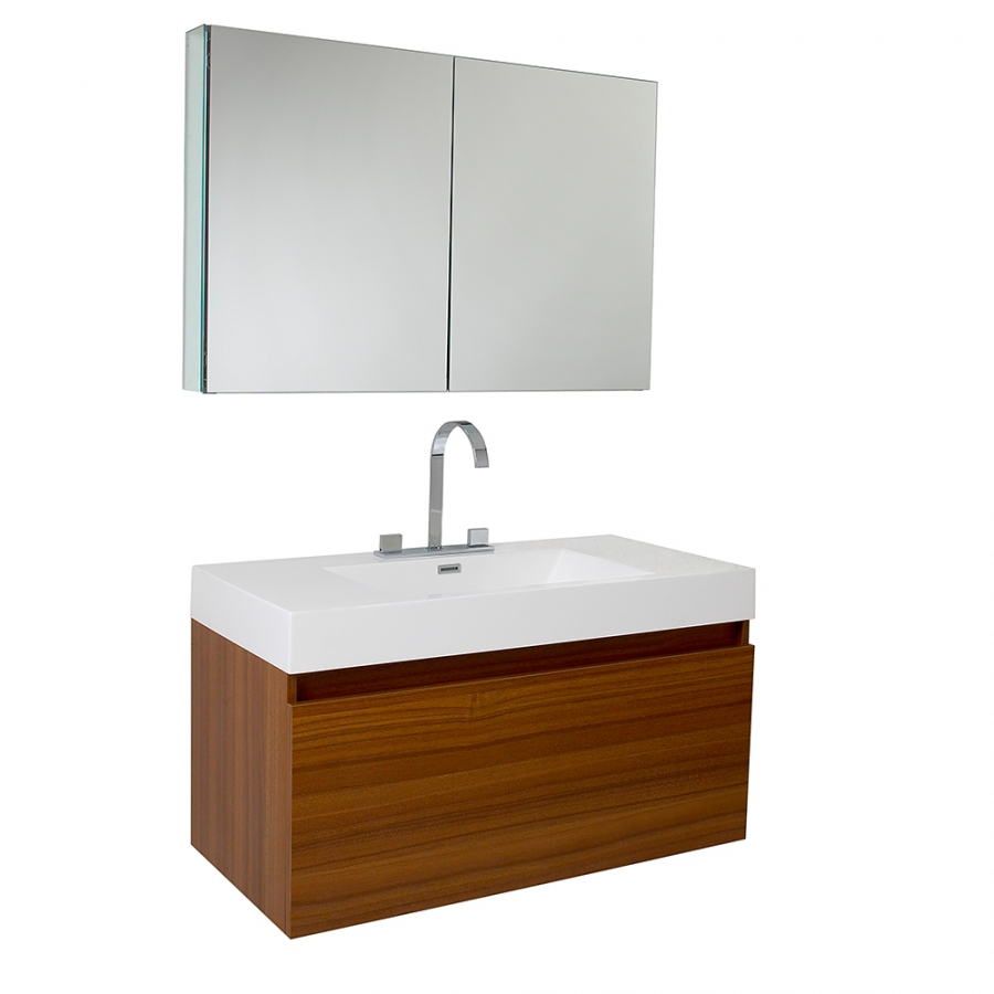 39 inch teak modern bathroom vanity with medicine cabinet for Bathroom medicine cabinets