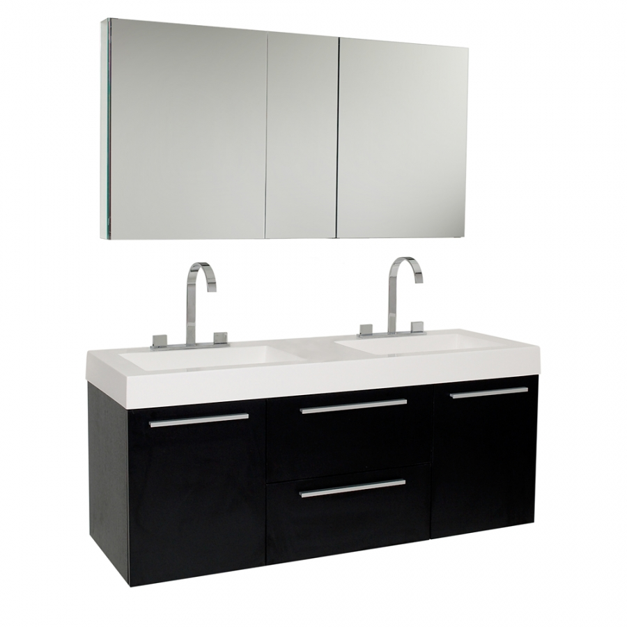 Inch black modern double sink bathroom vanity with for Bathroom vanity cabinets