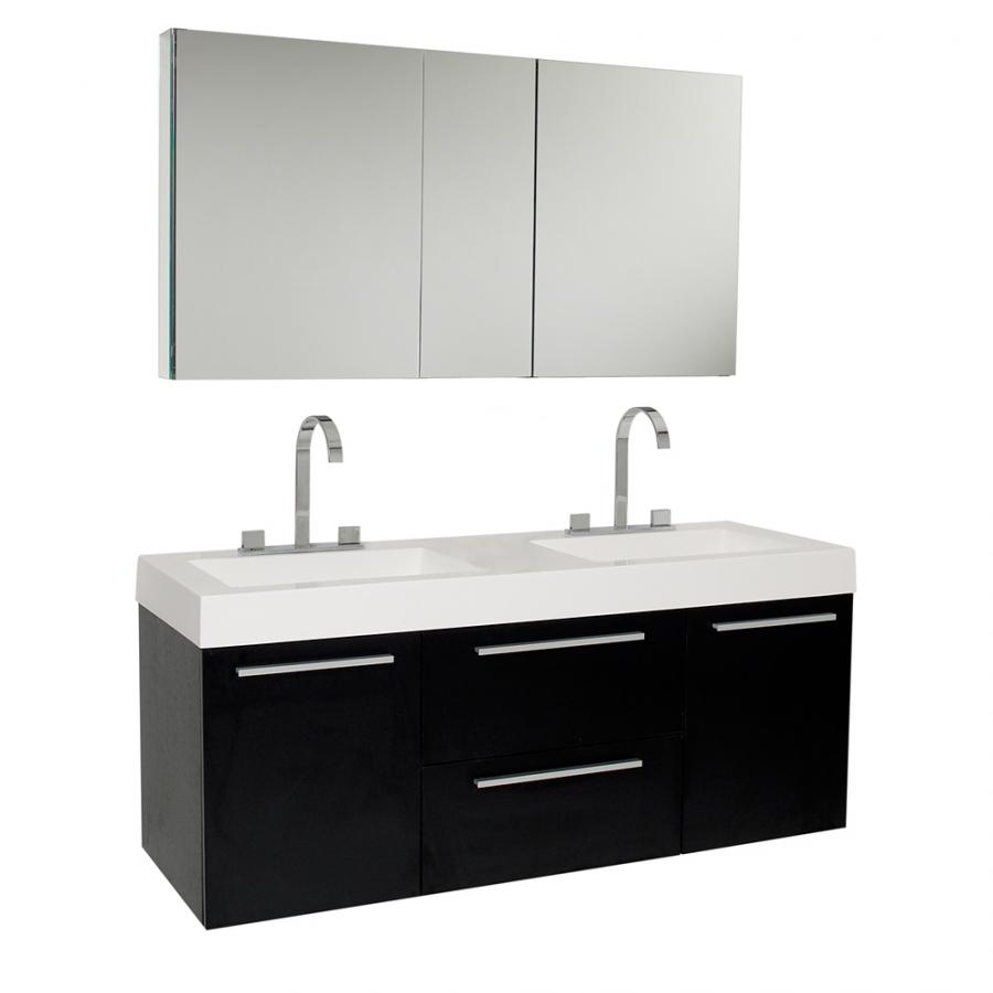 54.25 Inch Black Modern Double Sink Bathroom Vanity With Medicine Cabinet  UVFVN8013BW54