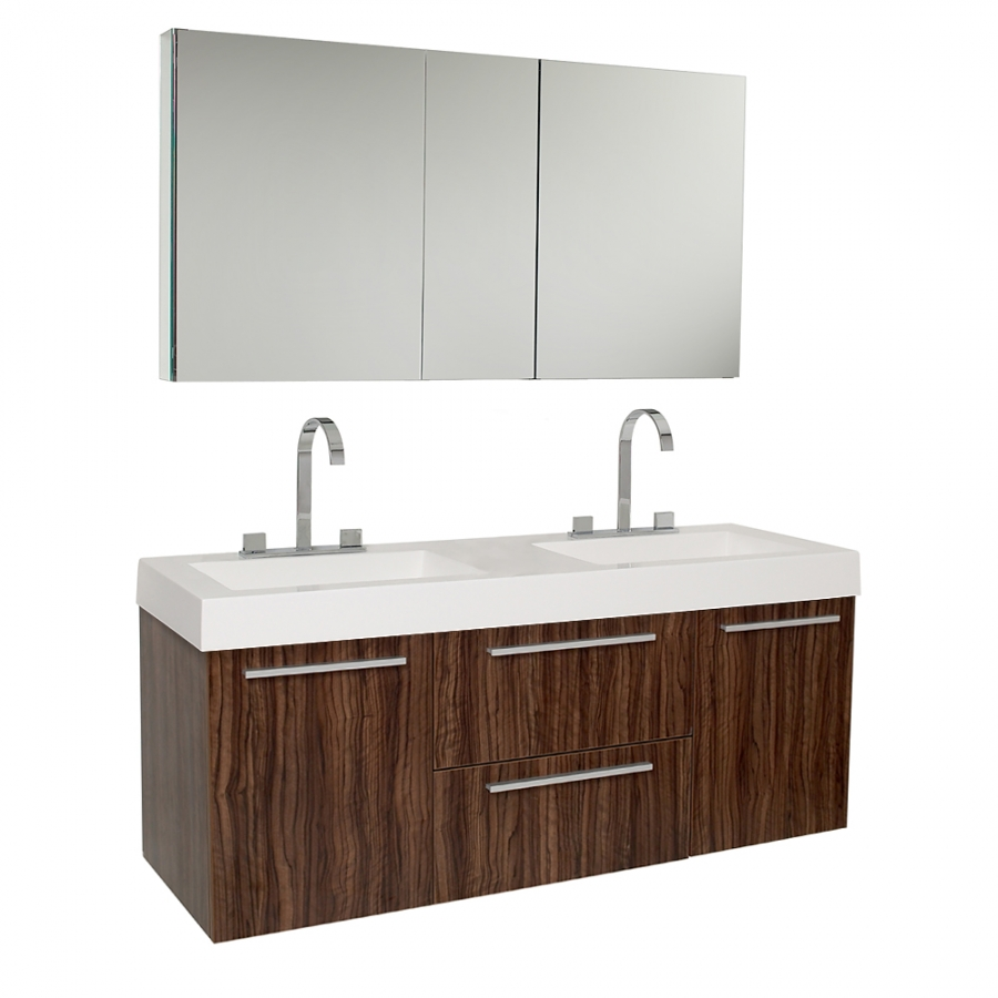 Inch Walnut Modern Double Sink Bathroom Vanity With Medicine Cabinet UV