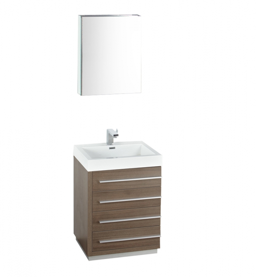24 inch gray oak modern bathroom vanity with medicine for Bathroom 24 inch vanity