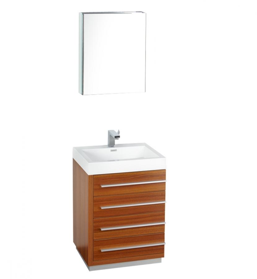 24 Inch Teak Modern Bathroom Vanity With Medicine Cabinet
