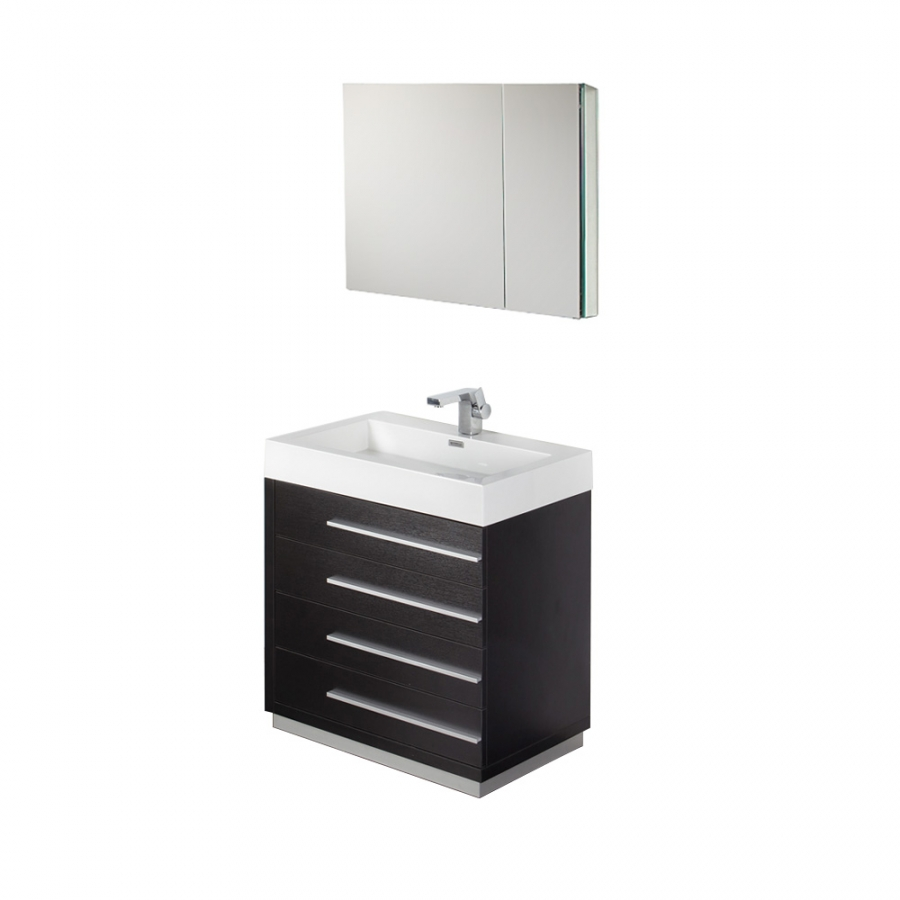 30 inch black modern bathroom vanity with medicine cabinet for Bathroom cabinets 30 inch