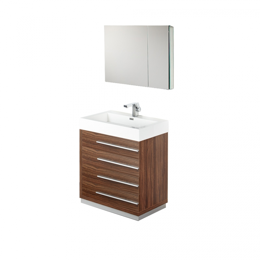 30 inch walnut modern bathroom vanity with medicine for Bathroom 30 inch vanity