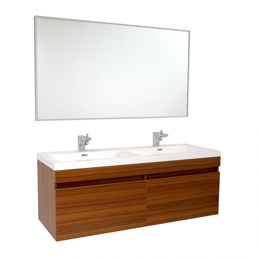 56.5 Inch Teak Modern Bathroom Vanity with Wavy Double ...