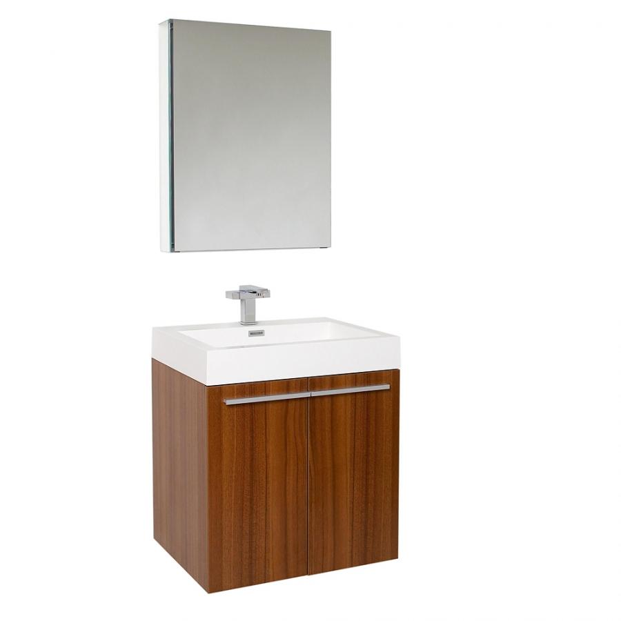 23 Inch Teak Modern Bathroom Vanity With Medicine Cabinet Uvfvn8058tk23