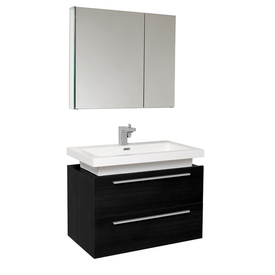 31.25 Inch Black Modern Bathroom Vanity with Medicine Cabinet