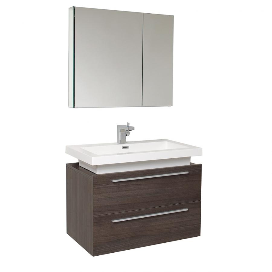 31.25 Inch Gray Oak Modern Bathroom Vanity With Medicine Cabinet UVFVN8080GO31