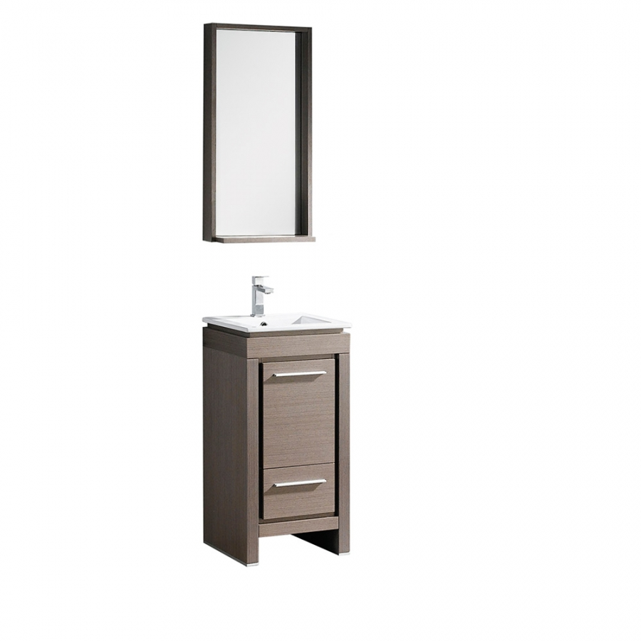 16.5 Inch Single Sink Bathroom Vanity In Gray Oak With Matching Mirror
