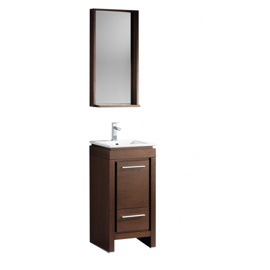 Brown Bathroom Sink : 16.5 Inch Single Sink Bathroom Vanity in Wenge Brown UVFVN8118WG17