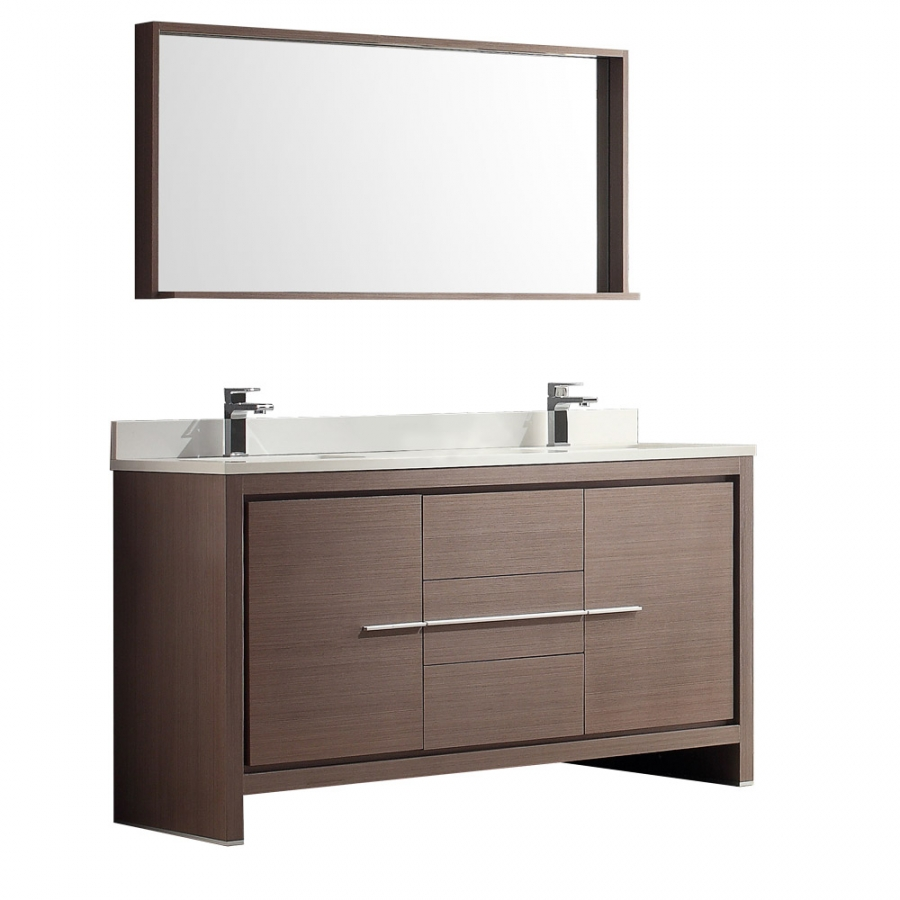 60 Inch Double Sink Bath Vanity In Gray Oak With Stone Top