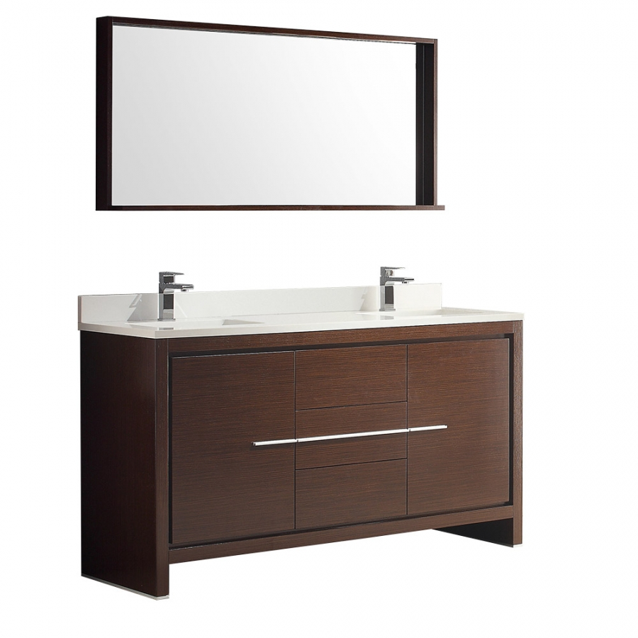 60 inch double sink bath vanity in wenge brown with stone for Bathroom 60 inch double vanities