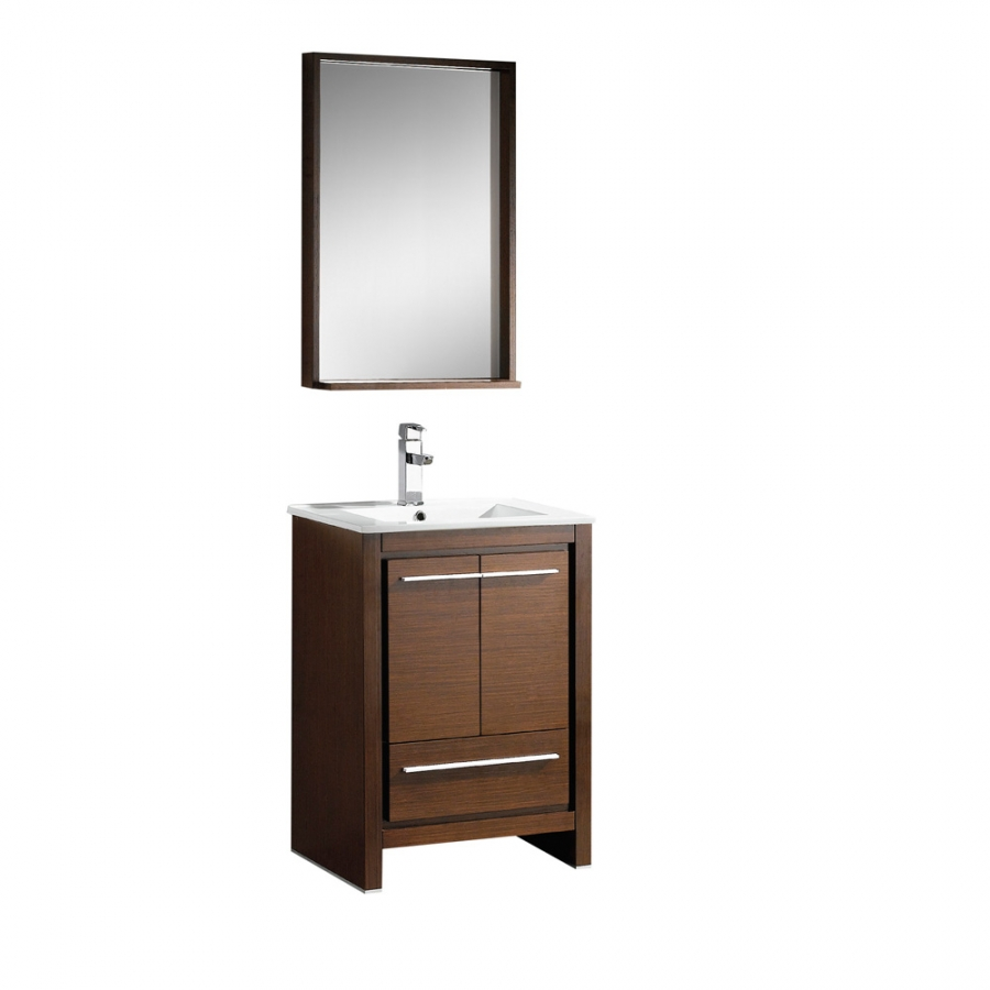 Matching Vanity Light And Mirror : 23.5 Inch Single Sink Bathroom Vanity in Wenge Brown with Matching Mirror UVFVN8125WG24
