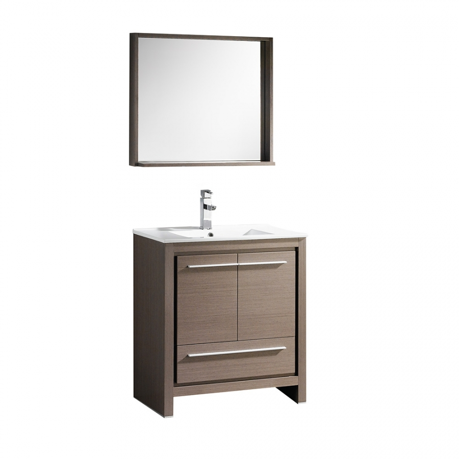 29 5 inch single sink bathroom vanity in gray oak with