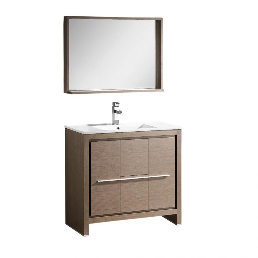 35 5 Inch Single Sink Bathroom Vanity In Gray Oak With Matching Mirror Uvfvn8136go36