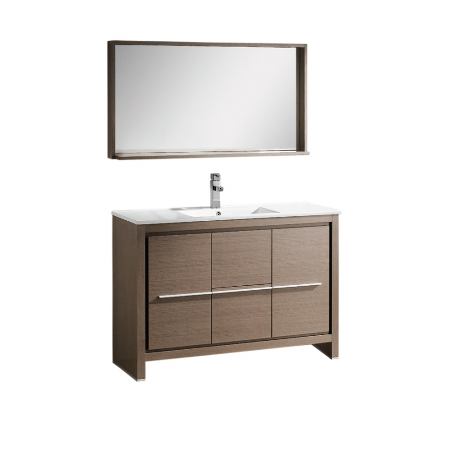 Matching Vanity Light And Mirror : 47.5 Inch Single Sink Bathroom Vanity in Gray Oak with Matching Mirror UVFVN8148GO48