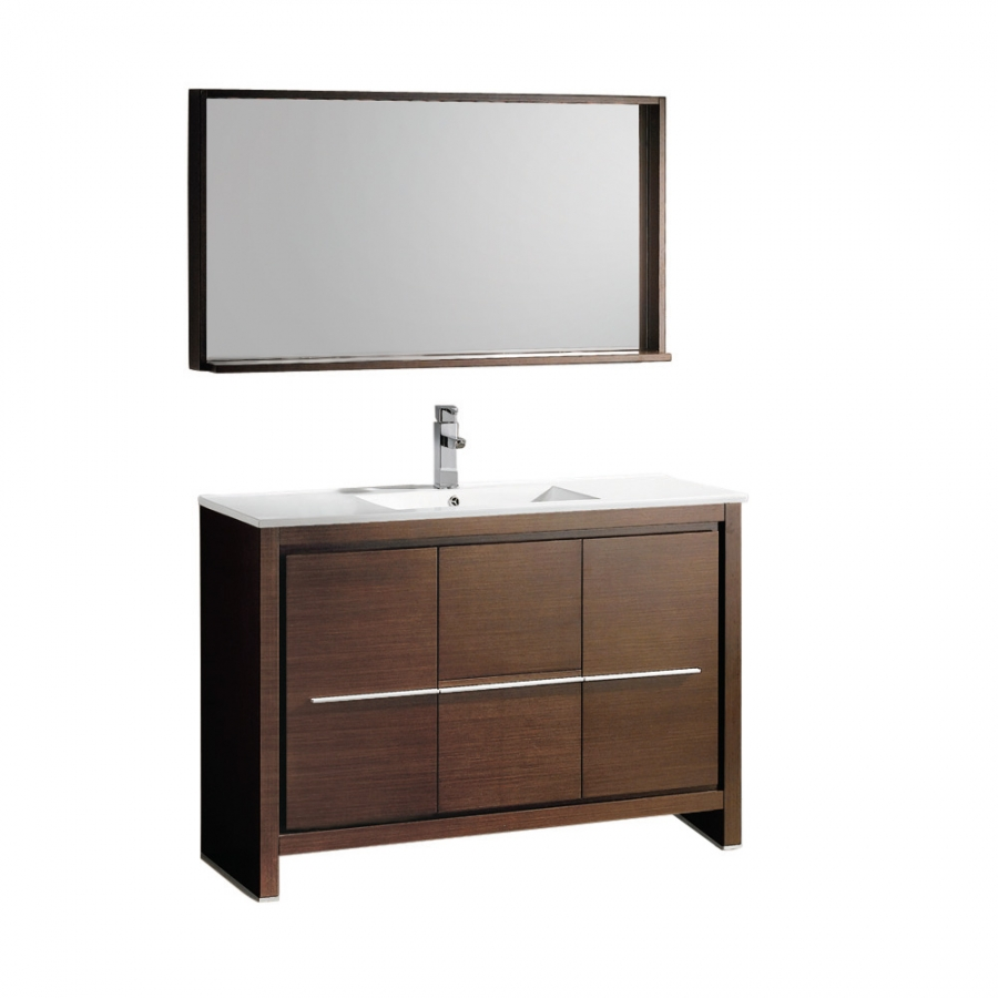 Innovative A Bathroom Vanity And Mirror With Newport Brass Faucet This Vanity Features A Natural Tone Stained  Green Metal For The Feet And Along The Backsplash The Mirror Features A Matching Design The Sink Is Also Included Along With The