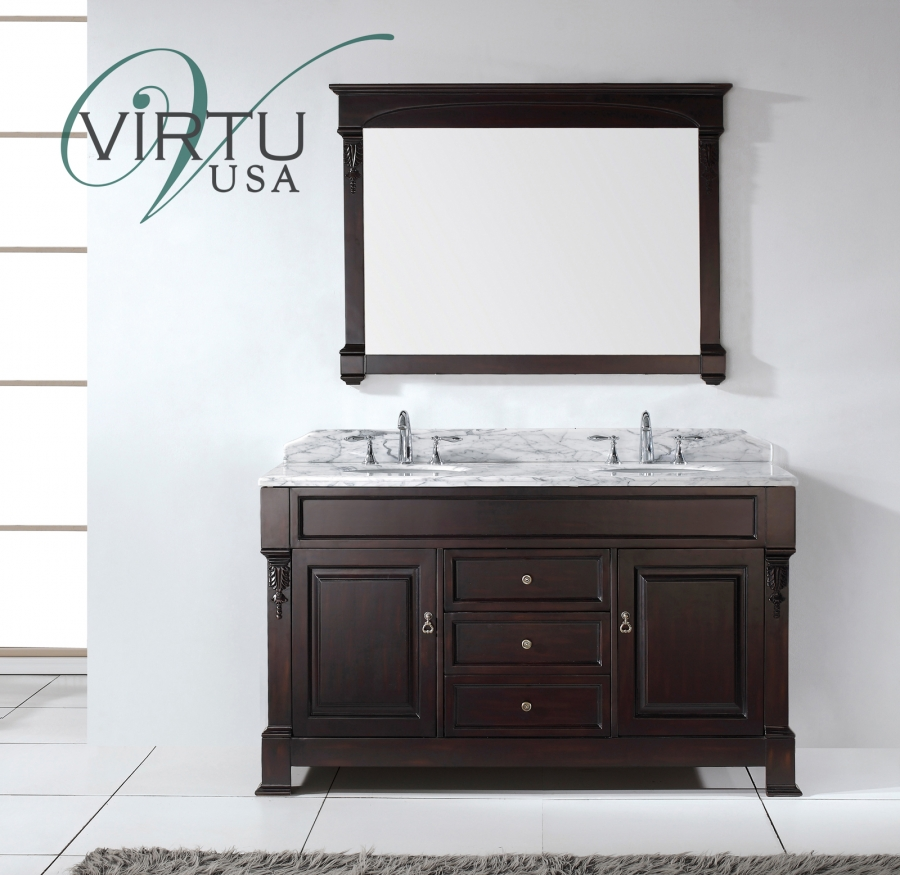 home 60 inch double sink bathroom vanity set with matching mirror