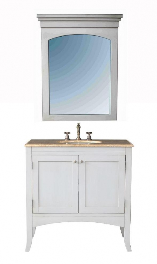 36 Inch Single Sink Bathroom Vanity With Travertine Marble Top And Mirror UVS