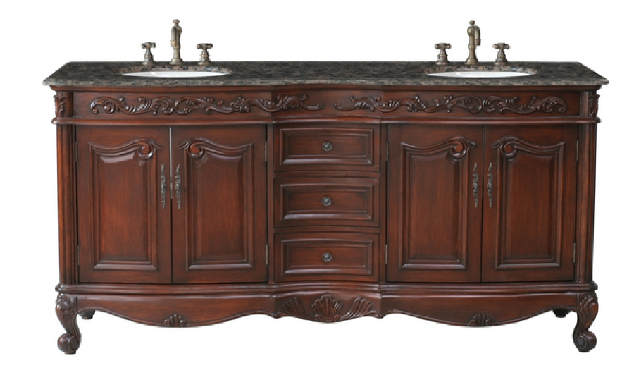 72 inch double sink bathroom vanity in antique cherry for Bathroom 72 inch vanity
