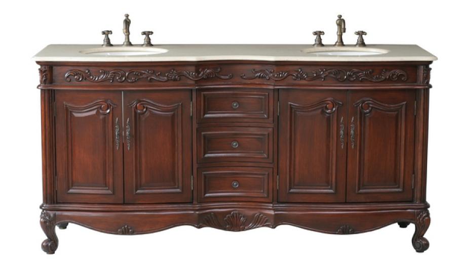 72 Inch Double Sink Bathroom Vanity In Antique Cherry UVSH332372