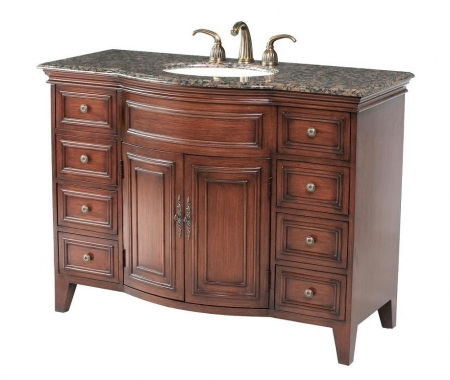 48 Inch Shiny Cherry Finish Single Sink Vanity With Choice Of Top Uvsh511548