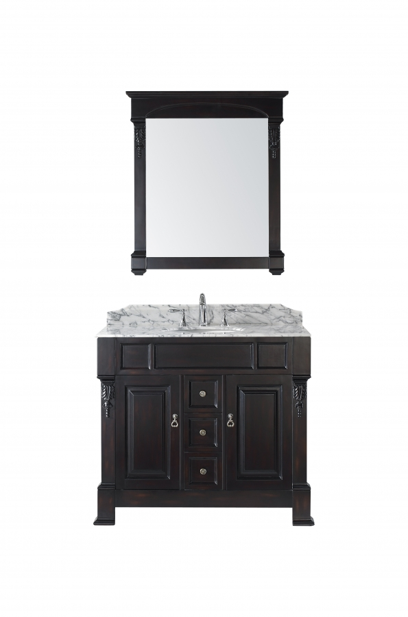 40 Inch Single Sink Vanity With Dark Walnut Finish And
