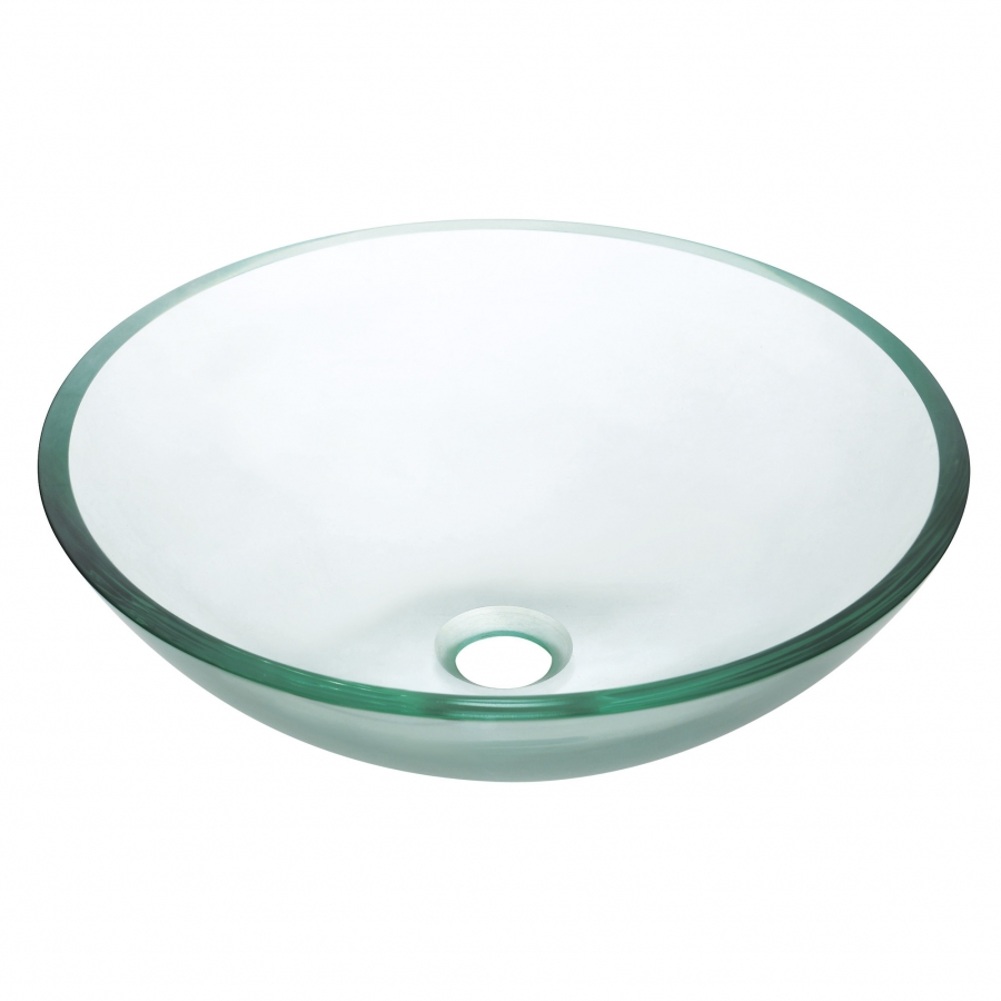 Multi layer clear unique shaped glass vessel sink uvacgve420cl for Odd shaped kitchen sinks