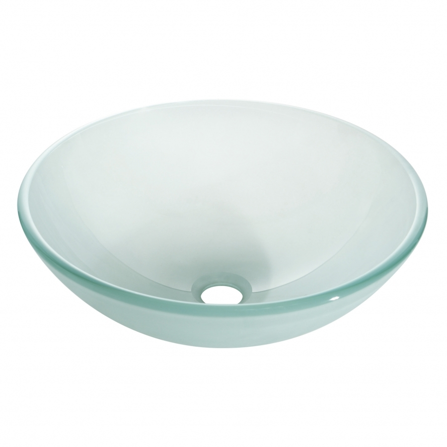 Multi layer frosted unique shaped glass vessel sink for Odd shaped kitchen sinks