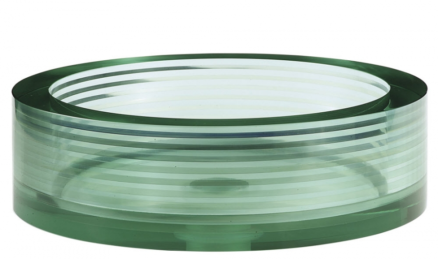 Multi Layer Clear Green Round Glass Vessel Sink Uvacgve450rd