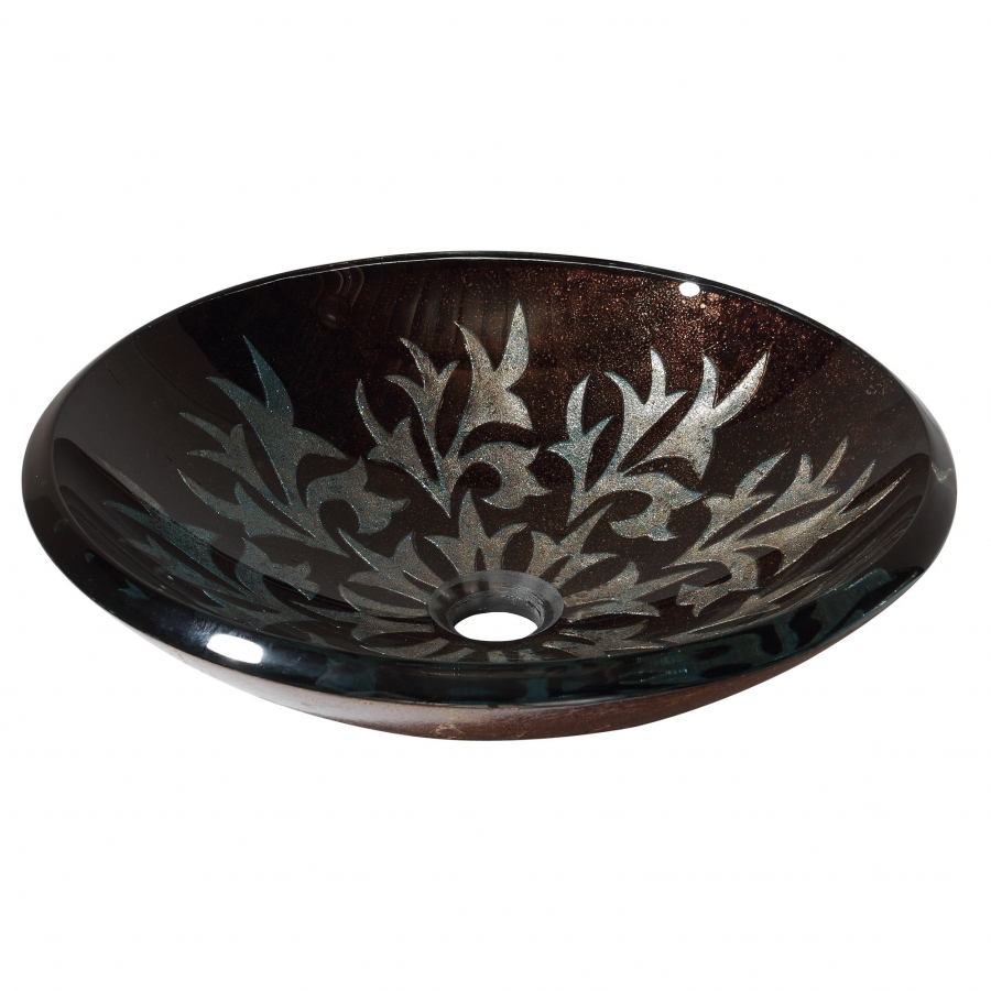 Black Glass Vessel Sink : Sparkle Black Design Glass Vessel Sink UVACGVE460AL