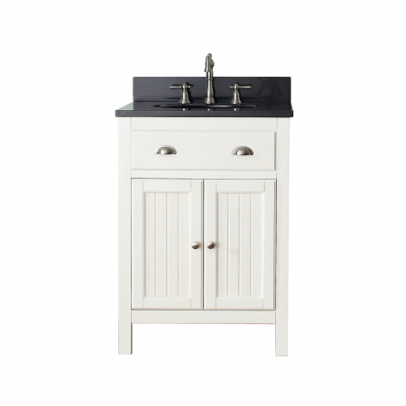24 Inch Single Sink Bathroom Vanity In French White