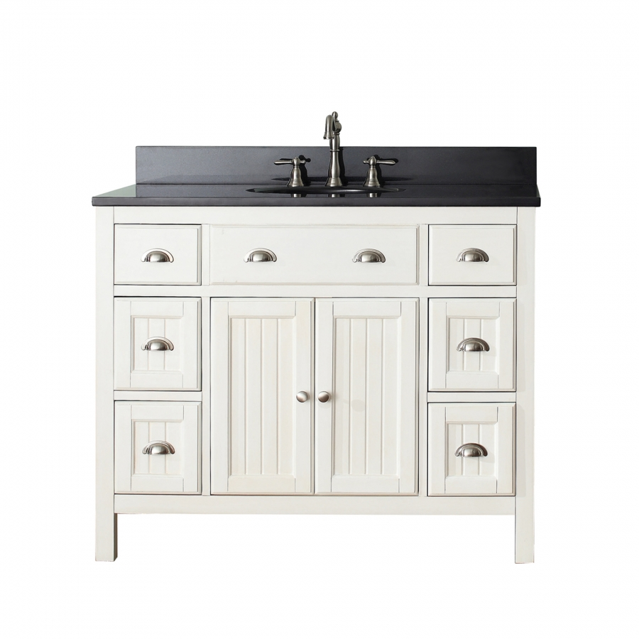 42 Inch Single Sink Bathroom Vanity In French White Uvachamiltonv42fw42
