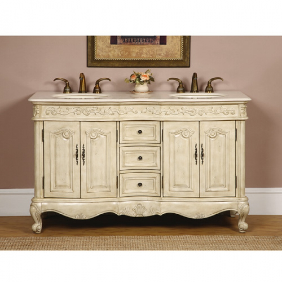 58 inch double sink bathroom vanity in antique white for Antique white double sink bathroom vanities