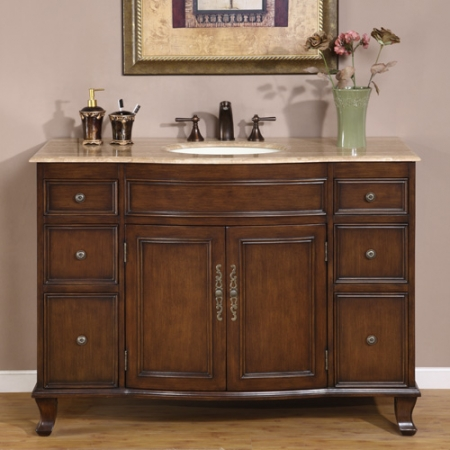48 Inch Antique Brown Single Sink Bathroom Vanity With Choice Of Top Uvsr015348