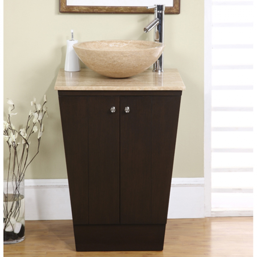 Bathroom single vanity - 22 Inch Vessel Sink Espresso Vanity With Travertine Sink