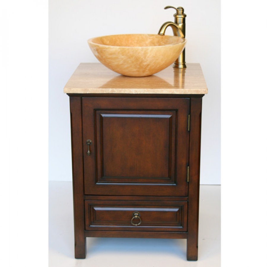 Small Vessel Bathroom Sinks : 22 Inch Small Vessel Sink Vanity with Travertine Sink UVSR0158T22