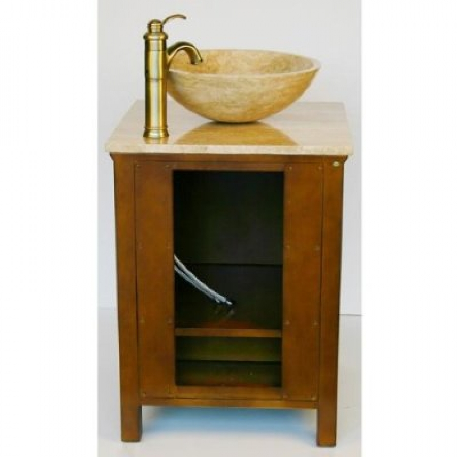 22 Inch Small Vessel Sink Vanity With Travertine UVSR0158T22