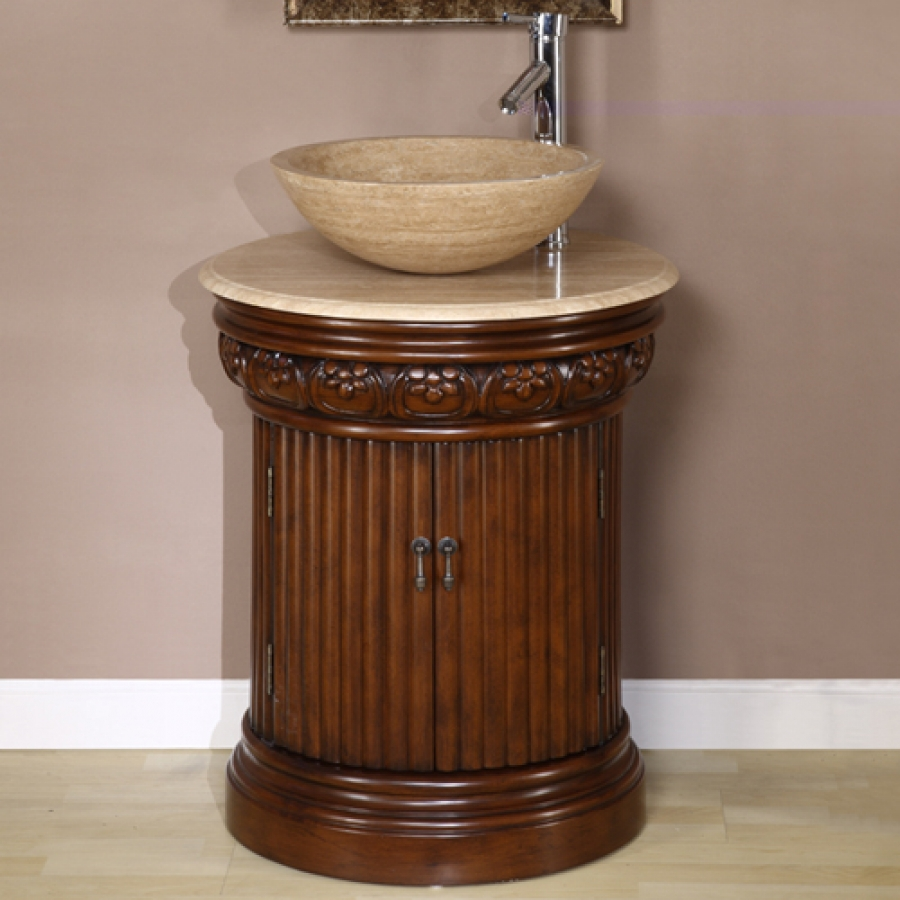 24 Inch Small Vessel Sink Vanity in Dark Brown Finish. Unique Vessel Sink Bathroom Vanities on Sale with Free Shipping