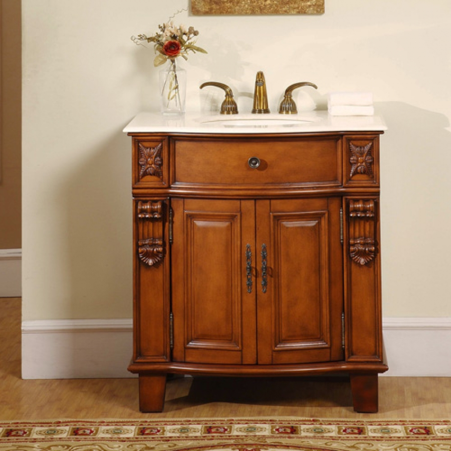 33 Inch Hand Carved Single Sink Vanity Cabinet