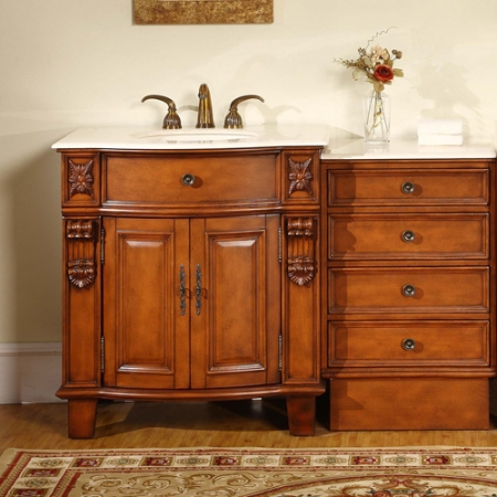 53 Inch Single Sink Bathroom Vanity With Extra Storage And Marble Top Uvsr020453