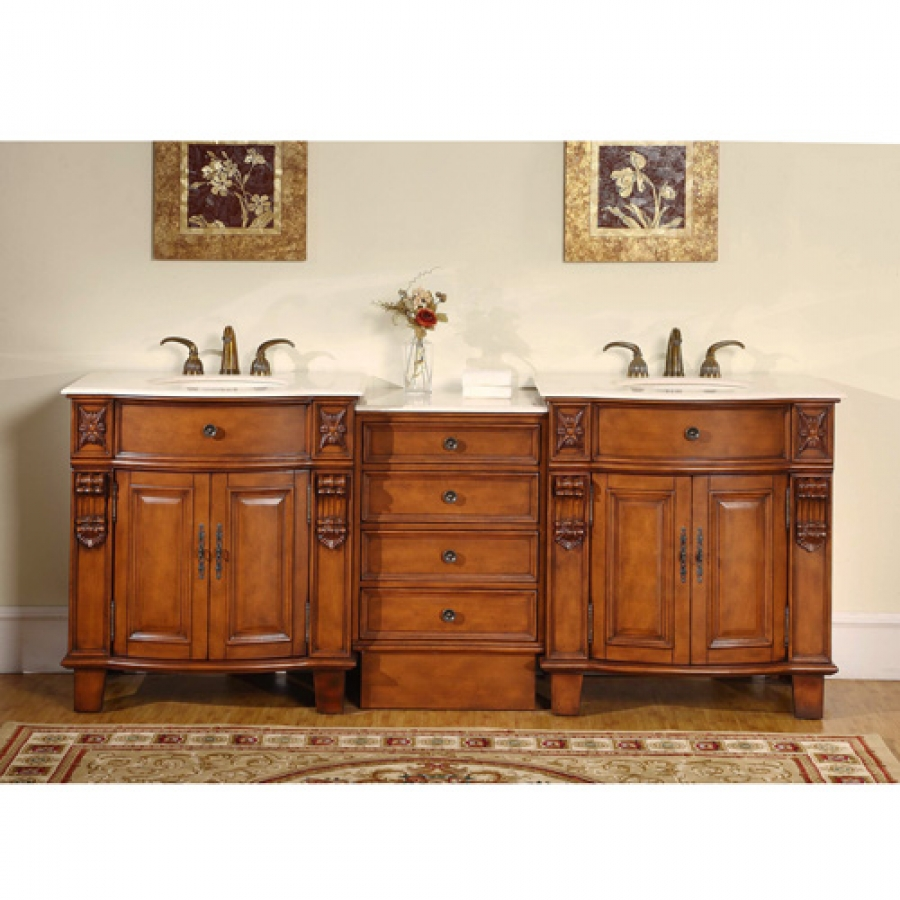 84 Inch Classic Double Sink Vanity With Hand Carved