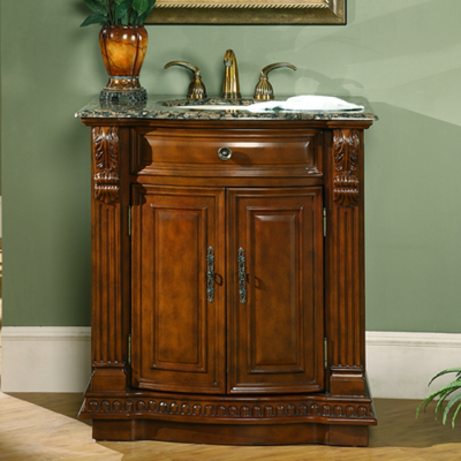 33 Inch Cherry Single Sink Bathroom Vanity With Granite